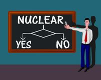 Man and flowchart with nuclear concept Royalty Free Stock Photography