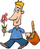 Man with flower cartoon illustration Stock Photography