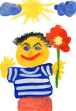 Man with flower. child drawing Stock Photos