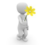 Man with flower. A 3D character wants to give away a flower Stock Image