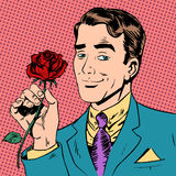 Man flower Dating love meeting art pop retro Royalty Free Stock Photo