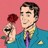 Man flower Dating love meeting art pop retro Royalty Free Stock Photo