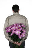 Man with flowers Stock Image