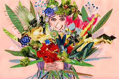 Man with flowers. Collage illustration Royalty Free Stock Photo
