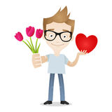 Man flowers heart love gift Stock Image
