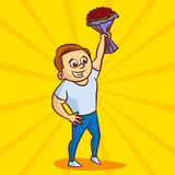 Man with flowers waving his hand Stock Images