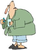 Man with the flu. This illustration depicts a sick man in a robe and pajamas taking some medicine Royalty Free Stock Photo