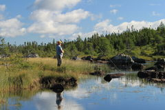 Man fly fishing Stock Images