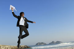 Man fly paper plane Royalty Free Stock Images