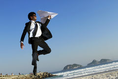 Man fly paper plane Royalty Free Stock Image