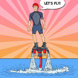 Man on Flyboard. Extreme Water Sport. Pop Art illustration Stock Photography