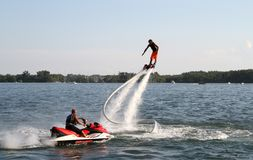 Man on flyboard jet ski in Toronto show Royalty Free Stock Images