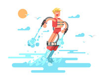 Man with flyboard. Water fly, vacation extreme, watersport and watercraft, waterjet recreation, vector illustration Royalty Free Stock Photo