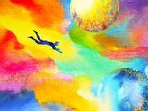 Man flying in abstract colorful dream universe illustration. Watercolor painting design hand drawn Royalty Free Illustration