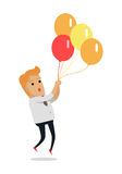Man Flying on Color Balloons Vector Illustration. Man flying on color balloons. Frightened man flying holding balloons bunch filled with helium flat vector Royalty Free Stock Photography