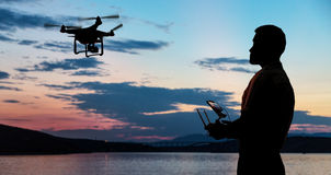 Man flying a drone. royalty free stock image