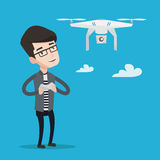 Man flying drone vector illustration. Stock Images