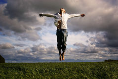 Man flying freedom Royalty Free Stock Photo