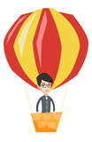 Man flying in hot air balloon vector illustration. Royalty Free Stock Photo