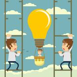 Man flying on idea balloon. Business boost concept, startup. vector illustration