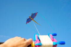 Man flying a kite Royalty Free Stock Images