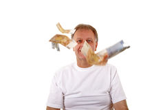 Man with flying money. Stock Photos