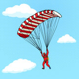 Man flying on a parachute comic book vector Royalty Free Stock Image