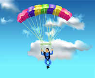 Man flying with the parachute. Vector illustration of man flying with the parachute on a blue sky background Royalty Free Stock Photo