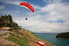 man flying a Paramotor above andaman sea Stock Photo