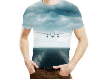 Man and flying plane in sky Royalty Free Stock Images