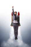 The man flying with the rocket in business concept Stock Photography