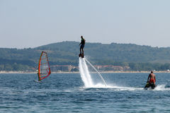 Man flying - 1. Seaside holiday at the Black Sea coast in Bulgaria in the summer Royalty Free Stock Images