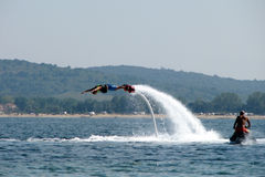 Man flying - 4. Seaside holiday at the Black Sea coast in Bulgaria in the summer Stock Photo