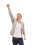 Man in flying superhero pose isolated at white background royalty free stock image