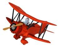 Man flying a vintage biplane. 3D render of a man flying a vintage biplane Royalty Free Stock Images