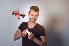 Man flying wireless drone Stock Photos