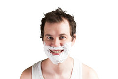 Man with foam on the face Royalty Free Stock Images