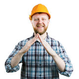 Man folded house from hands stock photos