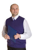 A man with a folder. Isolated. White background royalty free stock photo