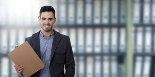 Man with the folder documents. And space for text or ads stock image