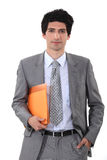 Man with folder in hand Stock Image