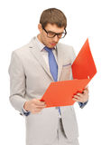 Man with folders Stock Photo