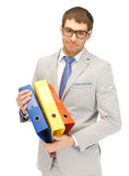 Man with folders Royalty Free Stock Photography