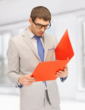 Man with folders Stock Image