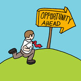 Man following opportunity ahead sign Royalty Free Stock Photo