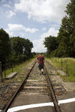 Man following tracks Stock Images
