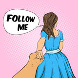 Man follows the girl and holding her hand vector Royalty Free Stock Photos