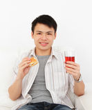 Man with Food Royalty Free Stock Images