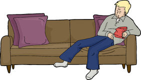 Man with Food Asleep on Couch. Cartoon of person sleeping on sofa with food Stock Image