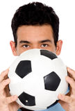 Man with a foot ball Royalty Free Stock Photo